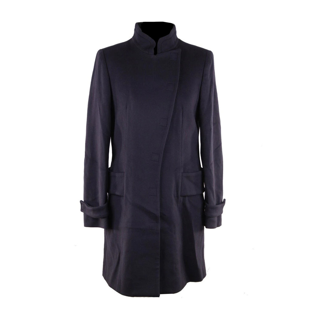 Versace Blue Wool Coat 2008 Fall Winter Collection Size 40 IT