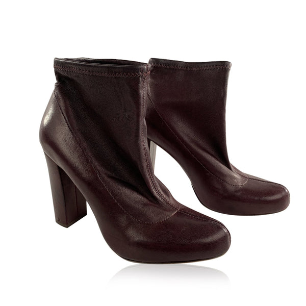 Chloe Brown Leather Ankle Boots Sock Booties Shoes Size 36