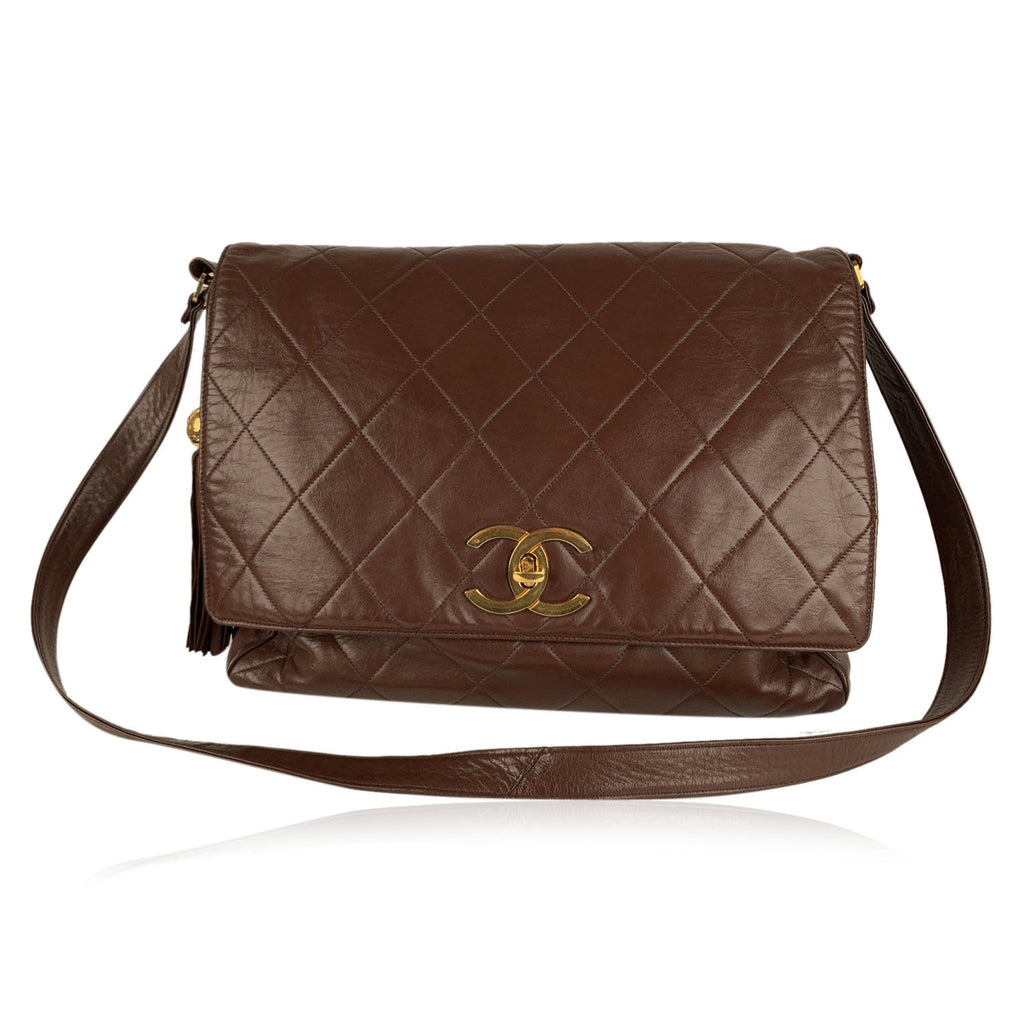 Chanel Vintage Brown Quilted Leather Large Messenger Bag - OPHERTY & CIOCCI