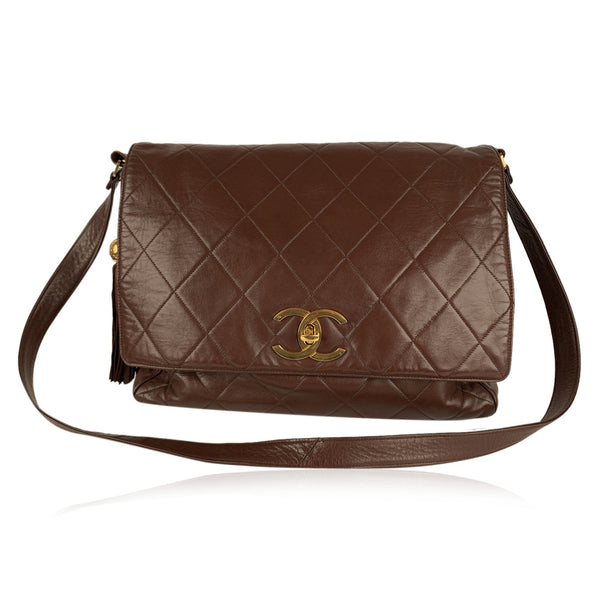Chanel Vintage Brown Quilted Leather Large Messenger Bag