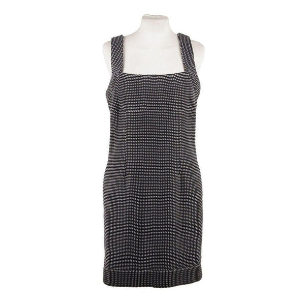 Chanel Black & White Cotton Blend Sheath Sleeveless Dress Size 38