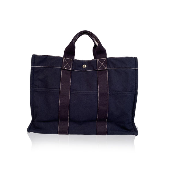 Hermes Paris Vintage Navy Blue Cotton Fourre Tout MM Tote Bag