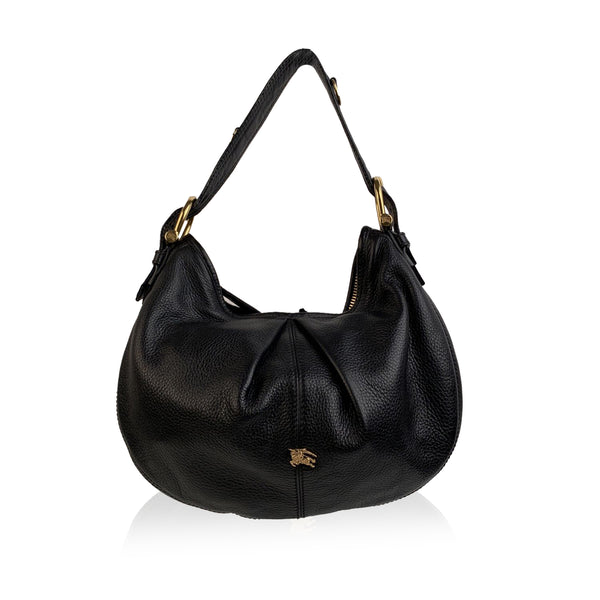 Burberry Black Leather Malika Hobo Bag Tote Shoulder Bag