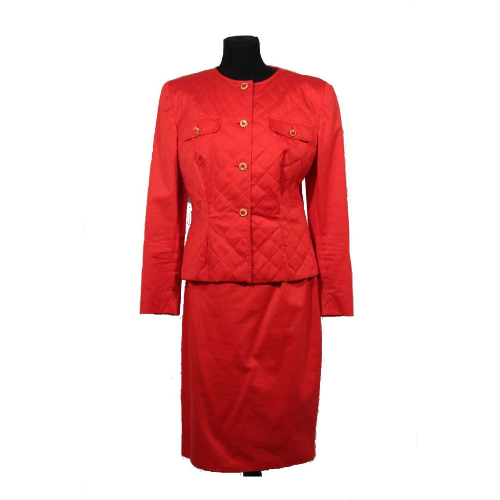Chiara Boni Chiara Boni Vintage Red Cotton Suit Quilted Jacket Skirt Set Size 46