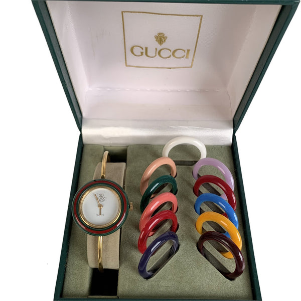 Gucci Vintage Golden 12 Bezel Wrist Watch Bracelet Bangle Rare