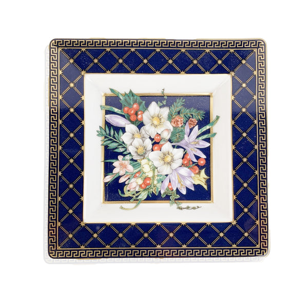 Versace White Blue Rosenthal Porcelain Square Ashtray Floral Theme