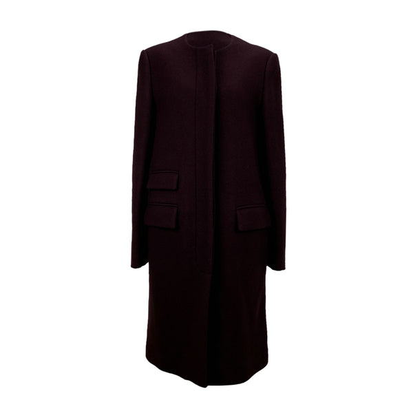 Stella McCartney Burgundy Wool Cashmere Coat Size 46 IT