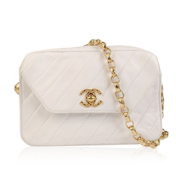 Chanel Vintage White Diagonal Quilted Leather Small Camera Bag