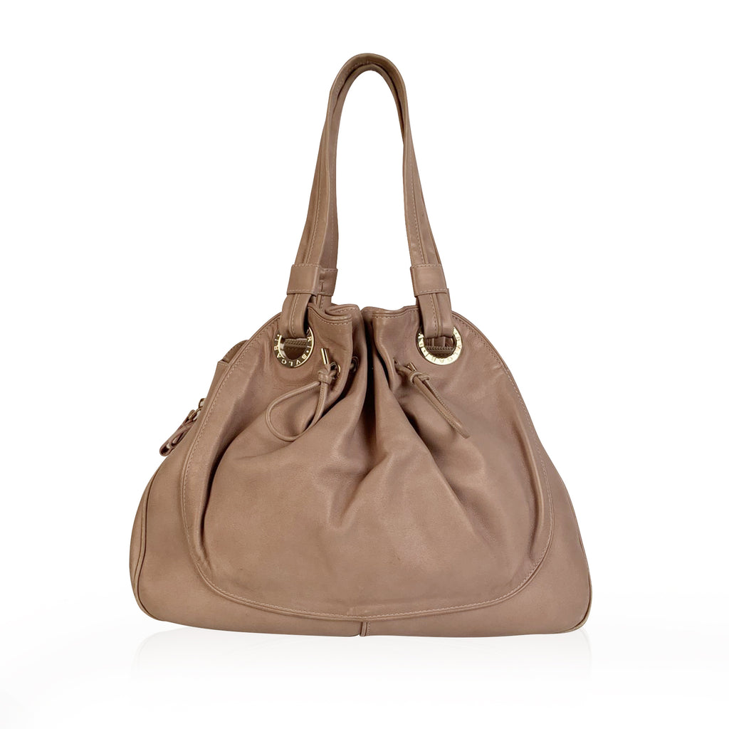 Bulgari Bvlgari Beige Leather Tote Bag with Drawstring Detail