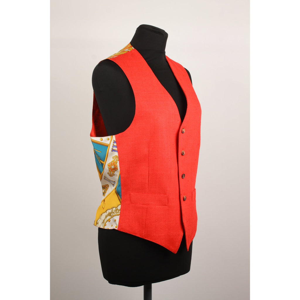 Hermes Vintage Men Vest with Silk Panel Size 46