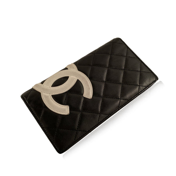 Chanel Black Quilted Leather Cambon Long Bifold Wallet