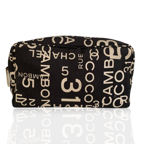 Chanel Black and White Canvas Sea Line Cosmetic Bag Pouch