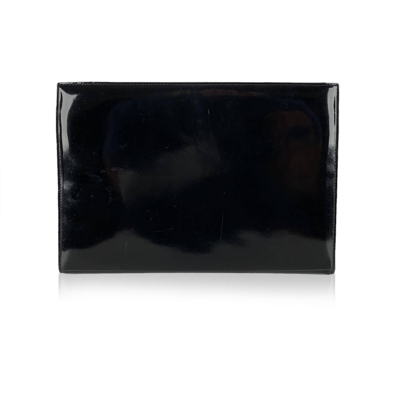Salvatore Ferragamo Vintage Black Patent Leather Clutch Bag