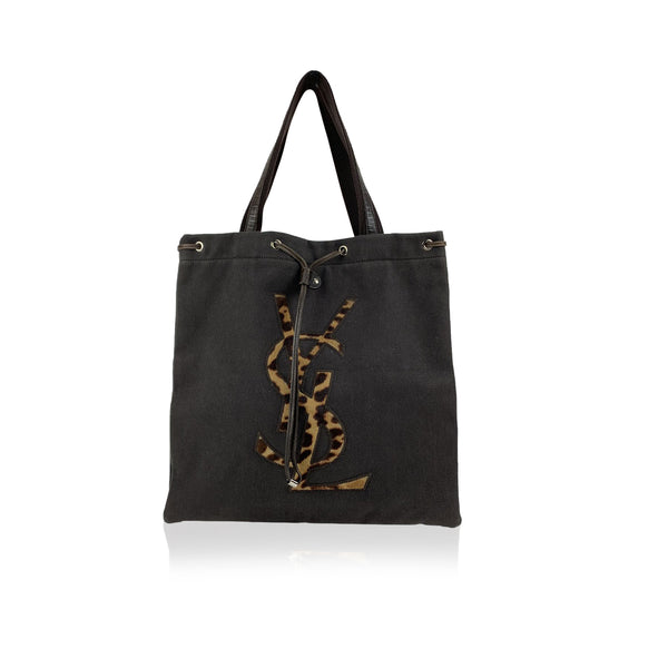 Yves Saint Laurent Brown Canvas Tote Shopping Bag with Animalier Logo