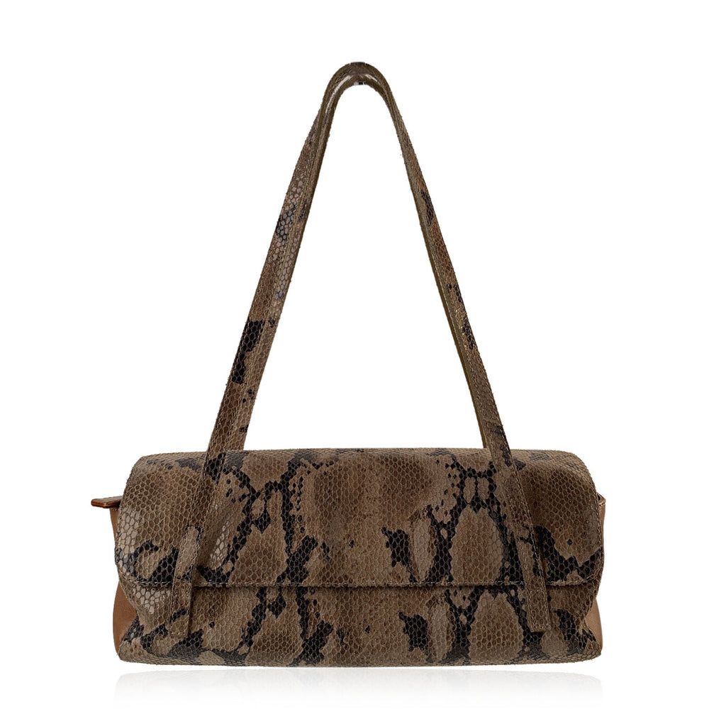 Fendissime Fendi Vintage Tan Snake Print Leather Look Shoulder Bag