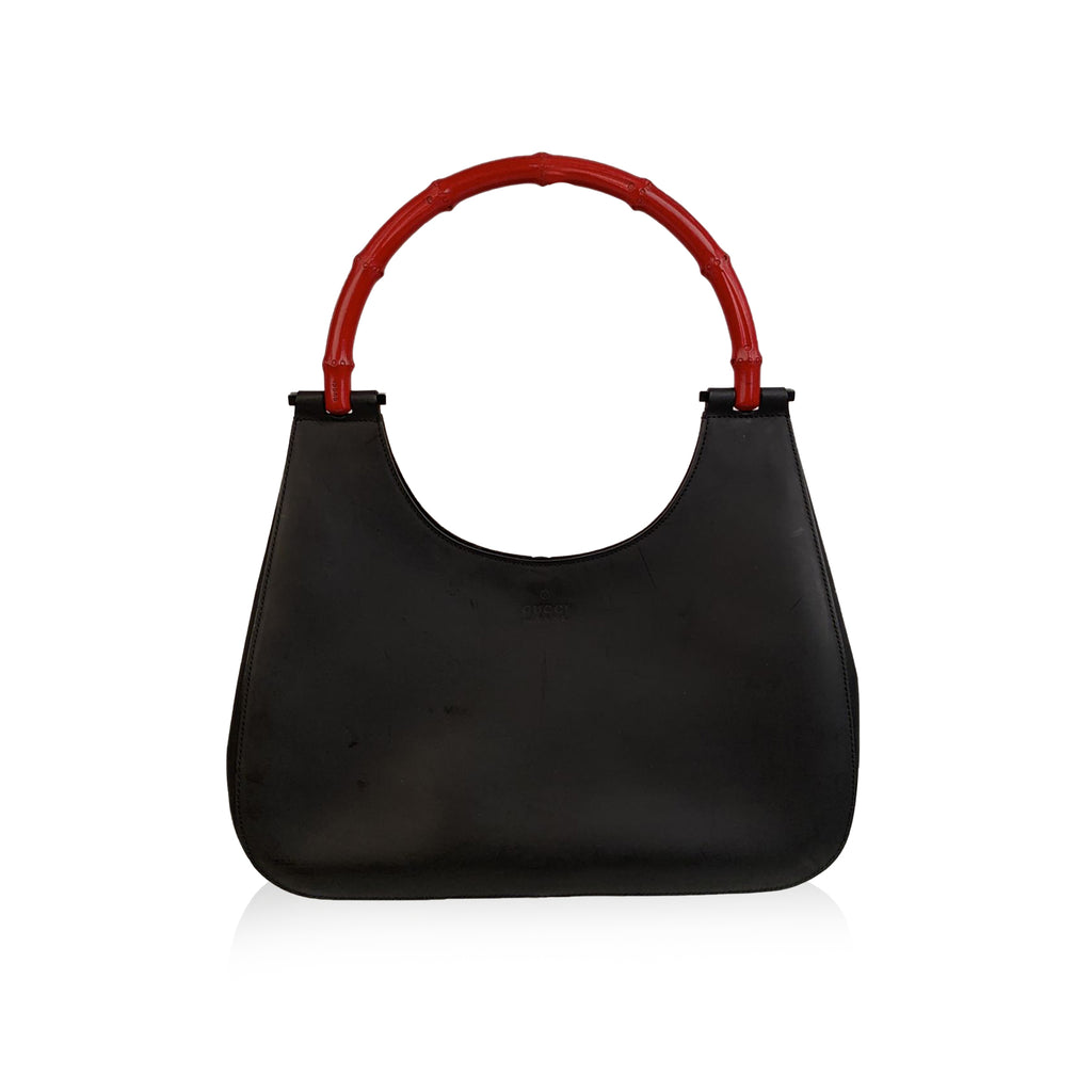 Gucci Black Leather Hobo Bag with Bamboo Handle Handbag