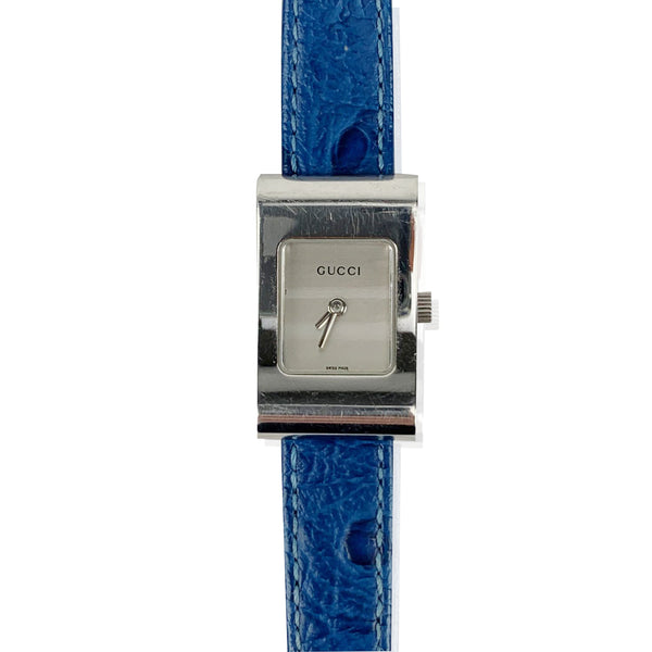 Gucci Vintage Stainless Steel Wrist Watch 2300 L Blue Leather Strap