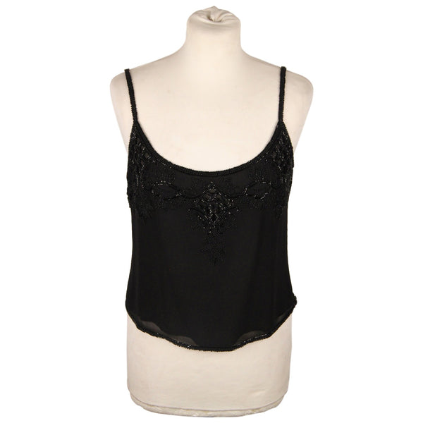 Valentino Black Chiffon Cami Top with Beads Size 42 IT