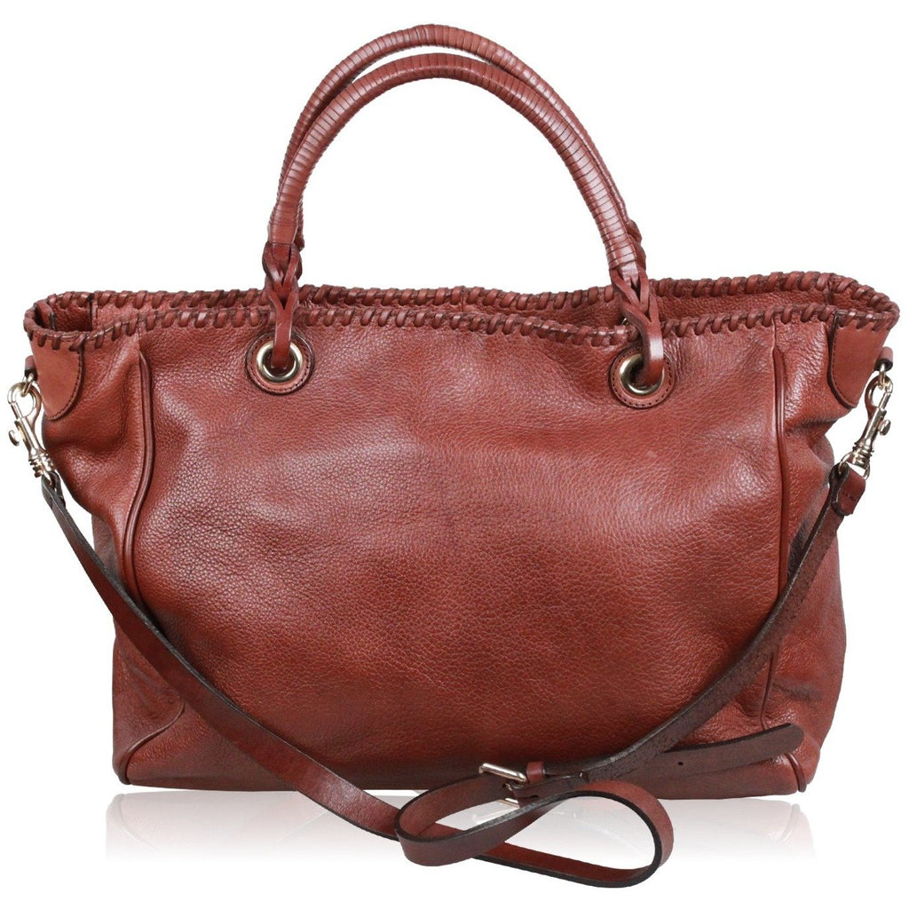 MASSIMO DUTTI Brown Leather ATITCHING TOTE w/ Shoulder Strap