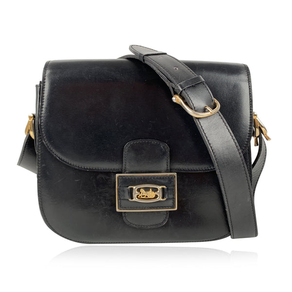 Celine Vintage Black Leather Box Carriage Shoulder Bag