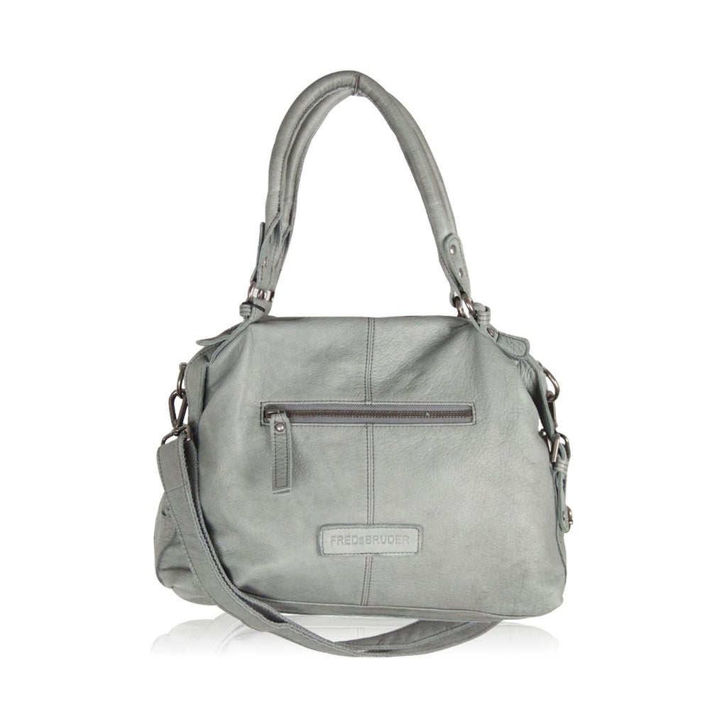 FREDsBRUDER Gray Leather TOTE SHOULDER BAG w/ Front Pocket