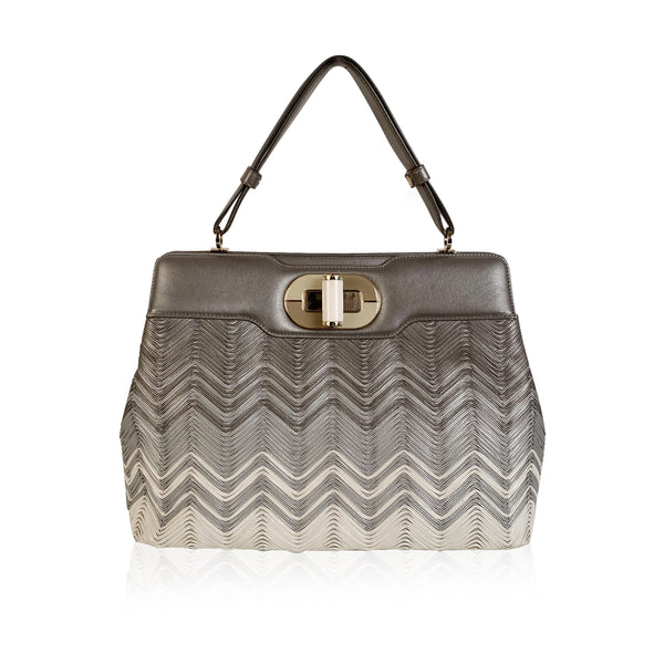 Bulgari Bvlgari Gray Chevron Leather Isabella Rossellini Bag