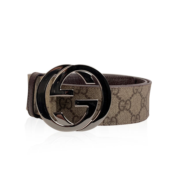 Gucci Beige Monogram Canvas Belt GG Buckle Size 95/38