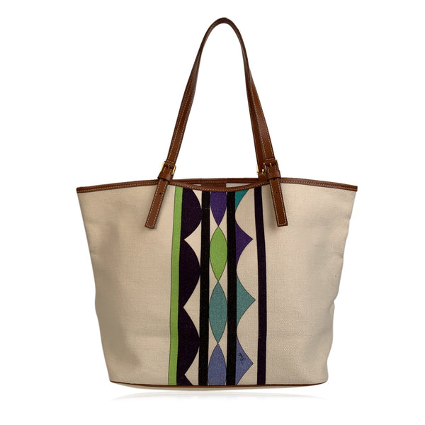 Emilio Pucci Beige Green Canvas Tote Shopper Shopping Bag