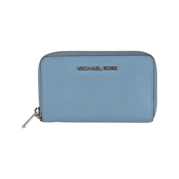 Michael Kors Blue Saffiano Leather Jet Set Travel Phone Wallet