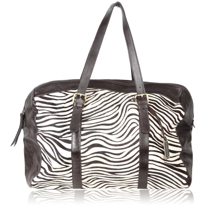 GHARANI STROK Zebra Pony Hair & Leather DUFFLE BAG Travel HOLDALL