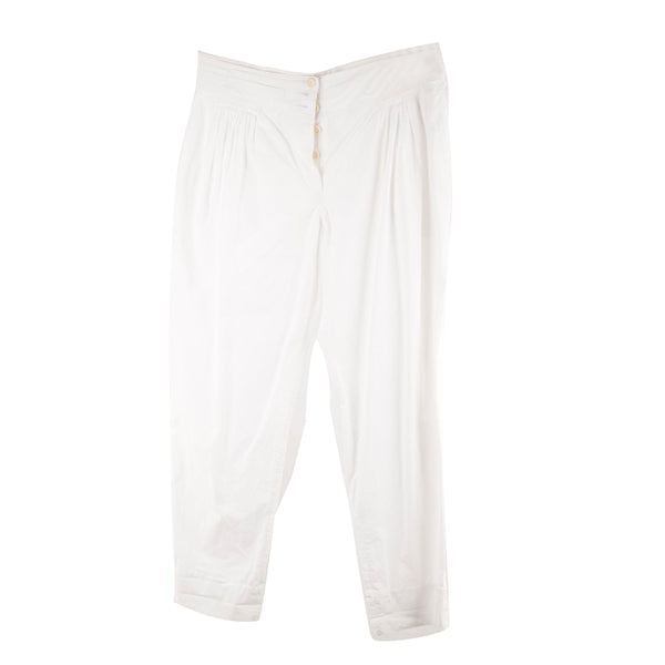 Marni White Cotton Trousers Pants with Pleating Size 40