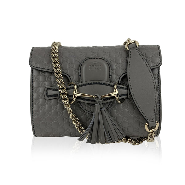 Gucci Grey Micro Guccissima Leather Mini Emiliy Shoulder Bag