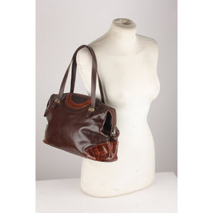 Vintage Shoulder Bag with Croc Leather Trim