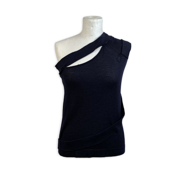 Versace Navy Blue Knit One Shoulder Cut Out Top Size 40