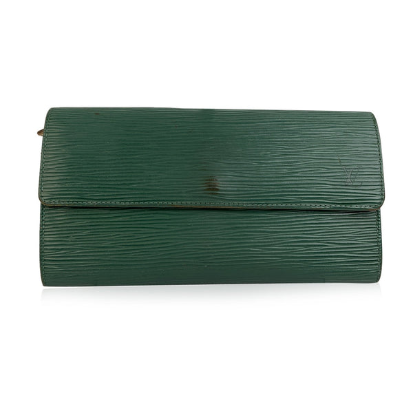 Louis Vuitton Green Epi Leather Long Continental Sarah Wallet
