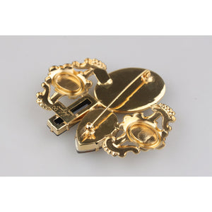 Haute Couture Brass Crystals Brooch Pin