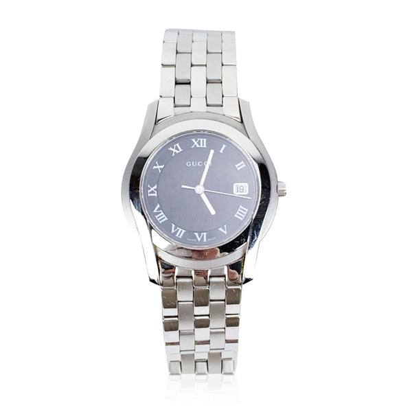 Gucci Silver Stainless Steel 5500 M Wrist Watch Black Dial Unisex