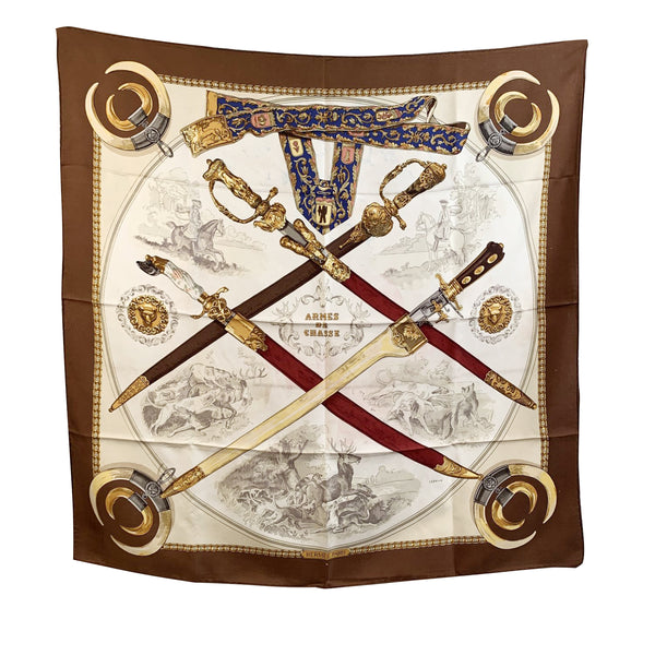 Hermes Paris Vintage Silk Scarf Armes de Chasse 1970 Ledoux Defects