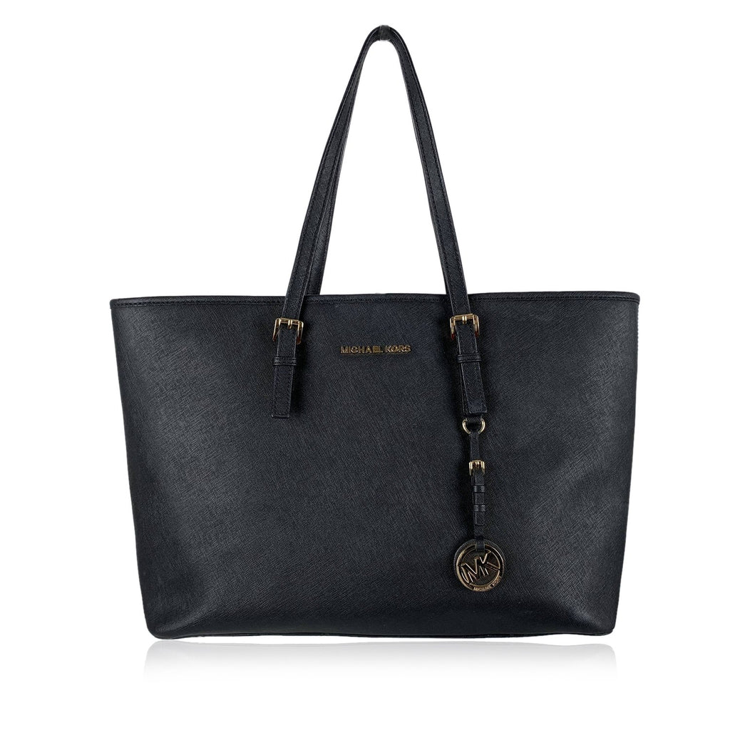 Michael Michael Kors Black Saffiano Leather Jet Set Travel Tote Bag