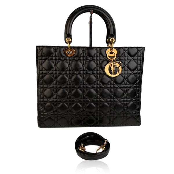 Christian Dior Black Cannage Quilted Leather Large Lady Dior Bag