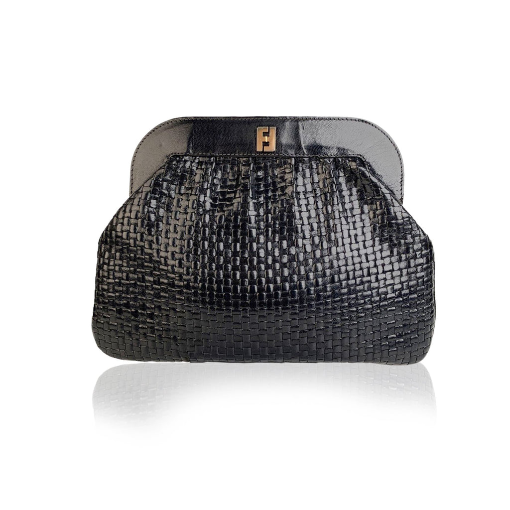 Fendi Vintage Navy Blue Woven Leather Clutch Bag Handbag