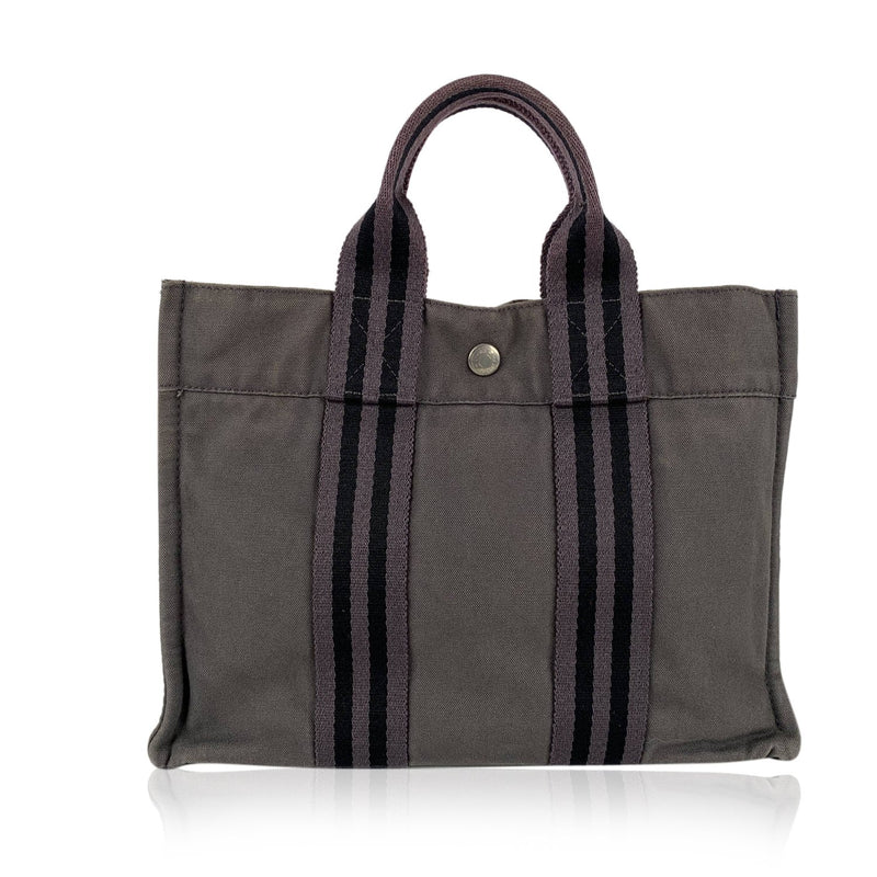 Hermes Hermes Paris Vintage Gray Cotton Canvas Fourre Tout PM Tote Handbag