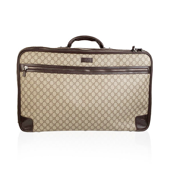 Gucci Brown Monogram Canvas Web Suitcase Travel Bag