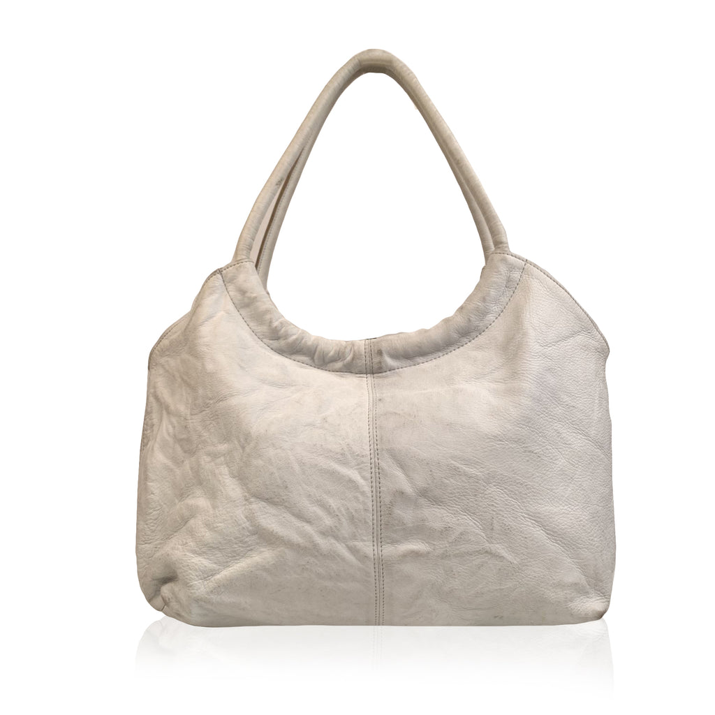 Yohji Yamamoto White Leather Hobo Tote Shoulder Bag