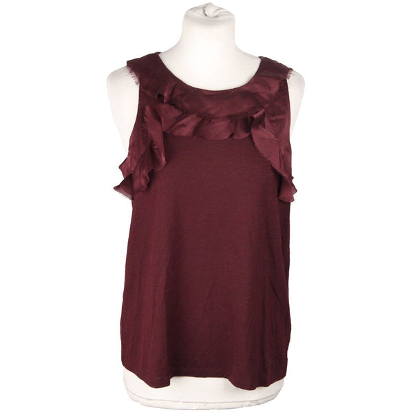 Lanvin Purple Viscose and Wool Sleevless Ruffles Top Size M