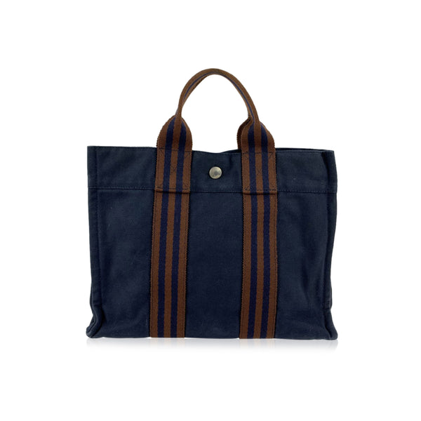 Hermes Paris Vintage Blue and Brown Cotton Fourre Tout PM Tote Bag