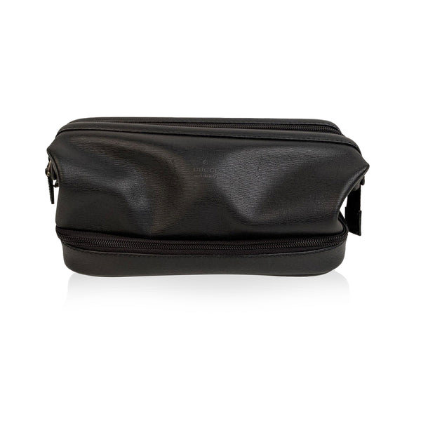 Gucci Black Leather Travel Cosmetic Toiletry Wash Bag