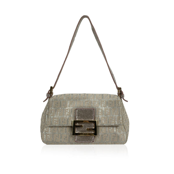 Fendi Beige Silver Lurex Zucchino Monogram Canvas Baguette Bag