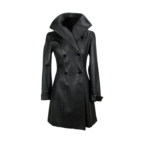 Armani Collezioni Black Leather Double Breasted Coat Size 40 IT