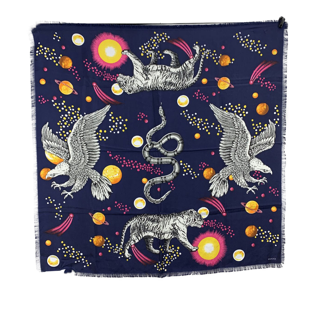 Gucci Blue Silk Space Animals Print Square Scarf 90 x 90